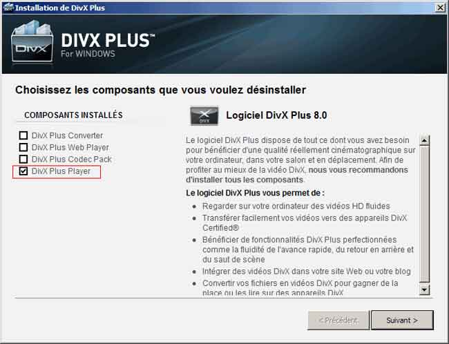 désinstaller Divx Plus Player