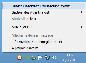 Avast - zone de notification