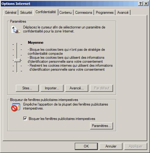 Configuration d 39 internet explorer for Fenetre intempestive