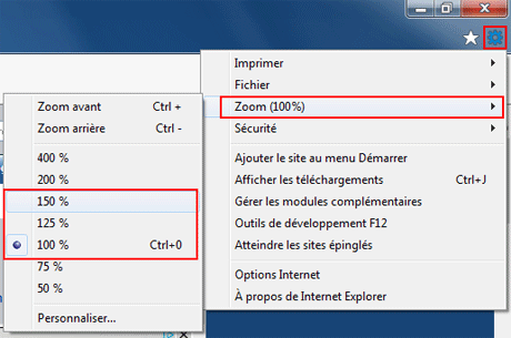 Internet Explorer 10 : Zoom