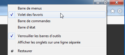 Windows 7 - Internet Explorer 11 : Volet des favoris