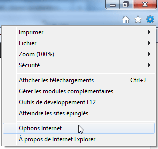 Internet Explorer 9 : Options Internet