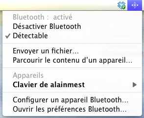 menu Bluetooth sur Mac OS X