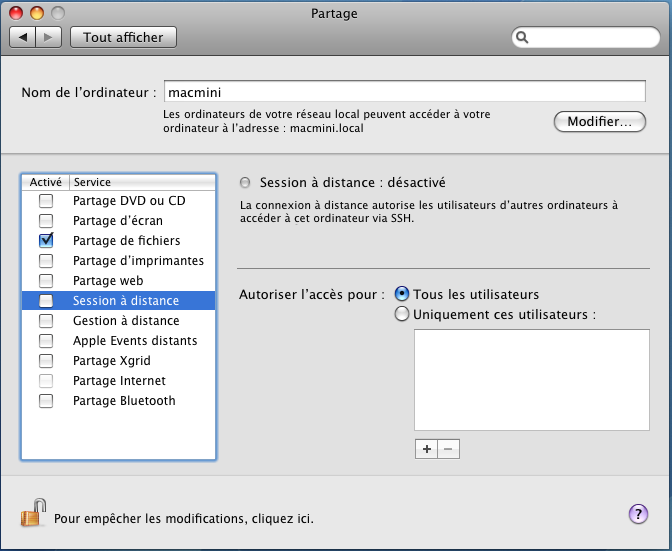 Rseau Contrle distance Mac OS X Aidewindowsnet
