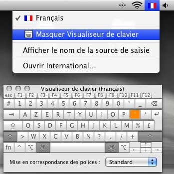 Visualiseur clavier Mac OS X