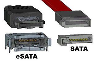 eSATA et SATA (source : homestead.co.uk)