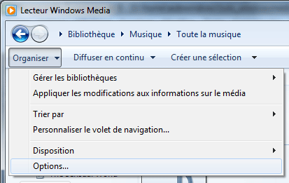 Lecteur Windows Media 12 : Options