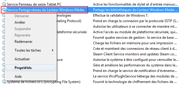 Lecteur Windows Media : Services