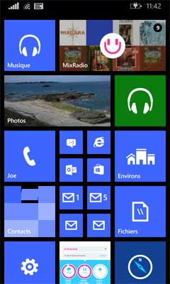 Windows Phone 8.1 sur 3 colonnes