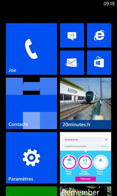 Windows Phone : Ecran d'accueil