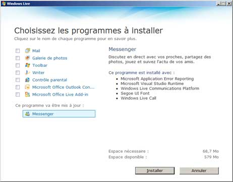 Mise à jour vers Windows Live Messenger 1