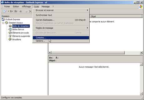 Outlook Express : menu Outils, Comptes...