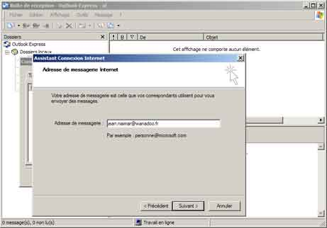 Outlook Express : adresse de messagerie