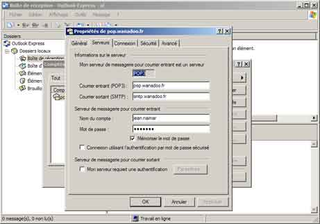 Outlook Express : Propriétés, onglet Serveurs