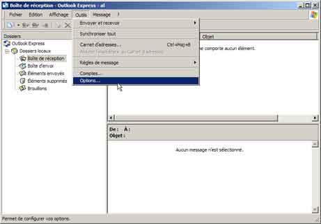 Outlook Express : nom du compte et mot de passe
