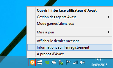 Avast : Zone de notification