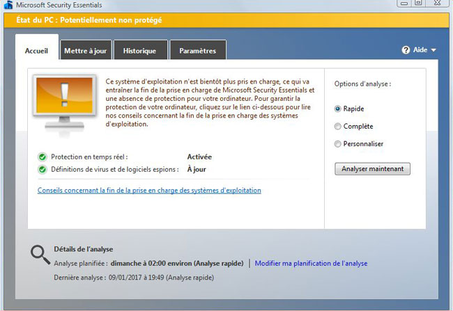 Microsoft Security Essential - Arrêt sur Windows Vista