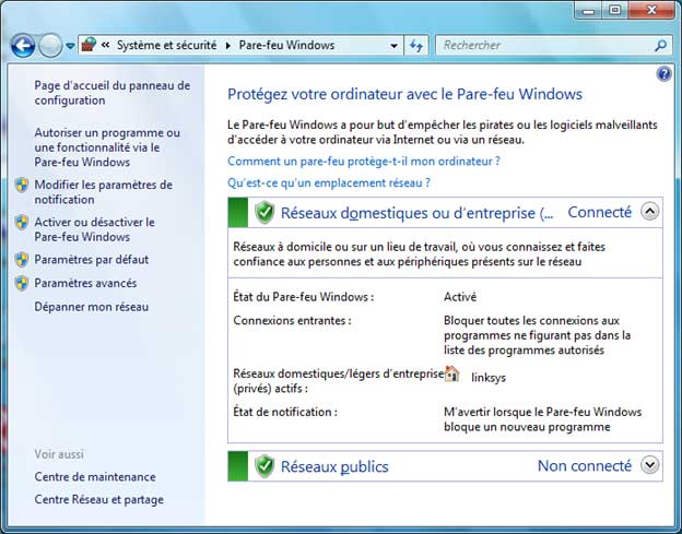 Pare-feu sous Windows 7