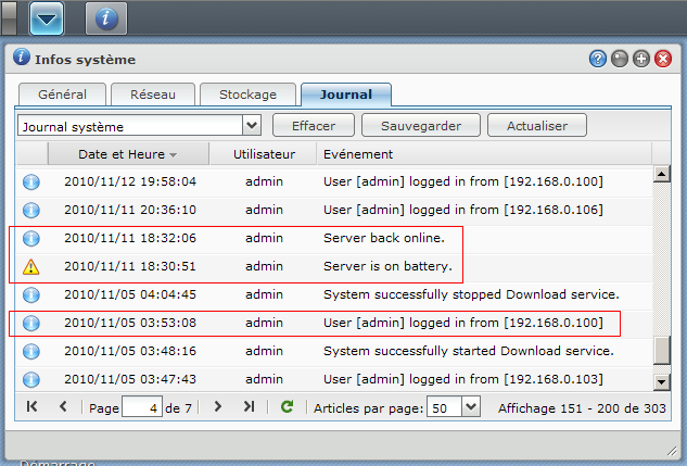 Synology DSM 3.1 : Journal