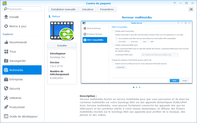 Synology : Installer Serveur multimedia
