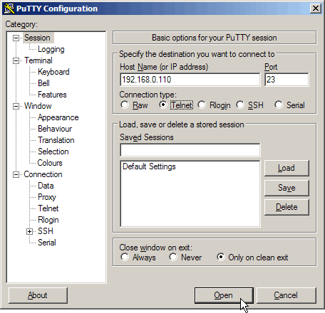 lancer PuTTY en Telnet
