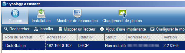 Menu de Synology Assistant