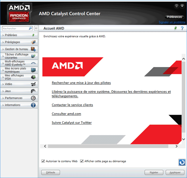 AMD Catalyst Control Center sur Windows 10