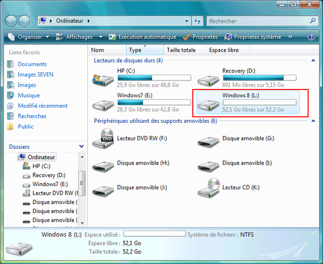 Windows Vista et partitions