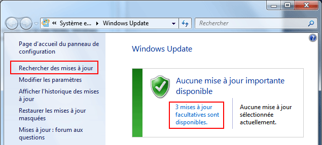 Windows Update : Mises à jour facultatives