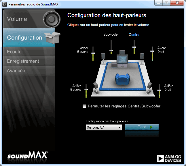 application de panneau de configuration soundmax