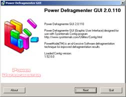 Ouverture de Power Defragmenter