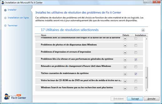 Installation - Centre de solution Microsoft Fix it