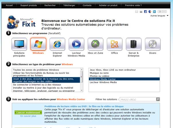 Utilisation de Microsoft Fix it Centre de Solutions