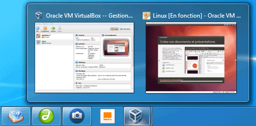 VirtualBox dans la Barre des tâches de Windows 7