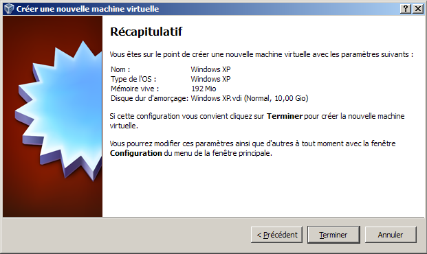 VirtualBox : création d'une machine virtuelle : Windows XP