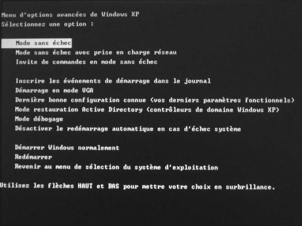 Mode sans échec sous Windows XP