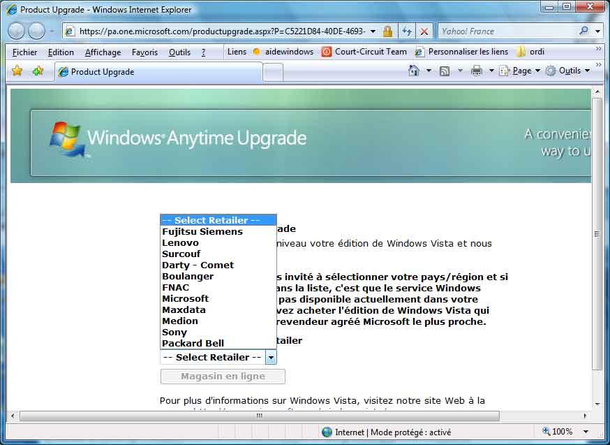Windows vista versions for Achat fenetre en ligne