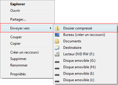 Dossier compressé sous Windows Vista