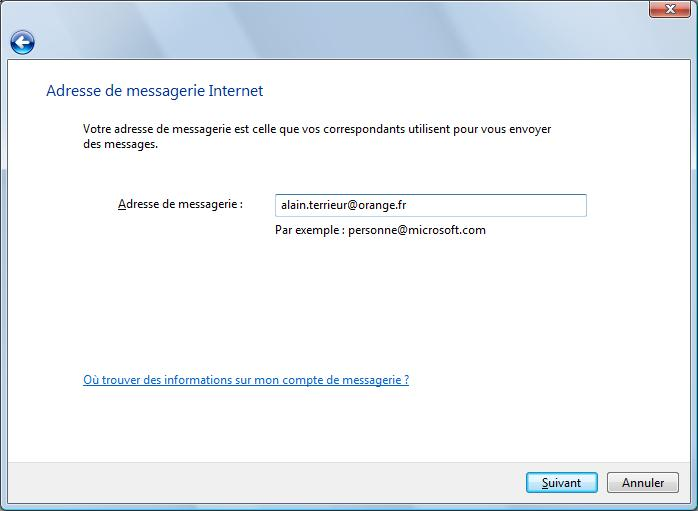 Adresse de messagerie Internet
