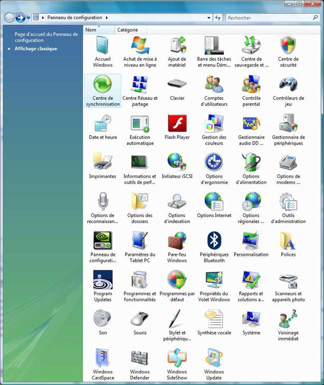 Panneau de configuration sous Windows Vista