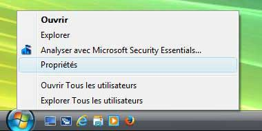 Windows Vista : Propriétés du menu Démarrer