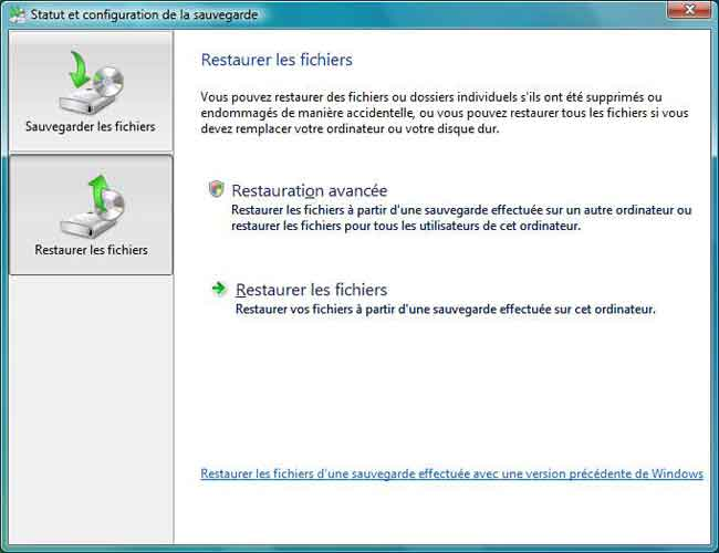 Windows Vista : Restaurer les fichiers