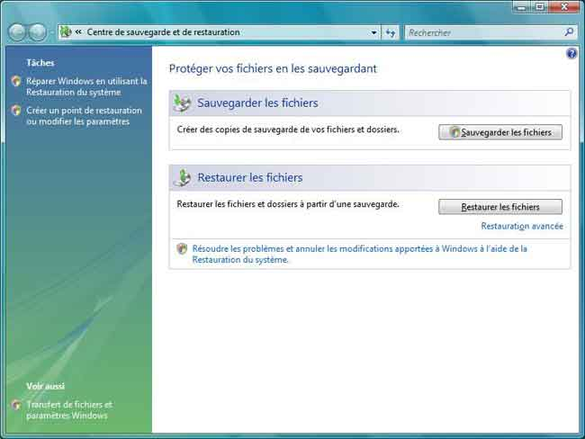 Sauvegarde et restauration : Windows Vista Familiale