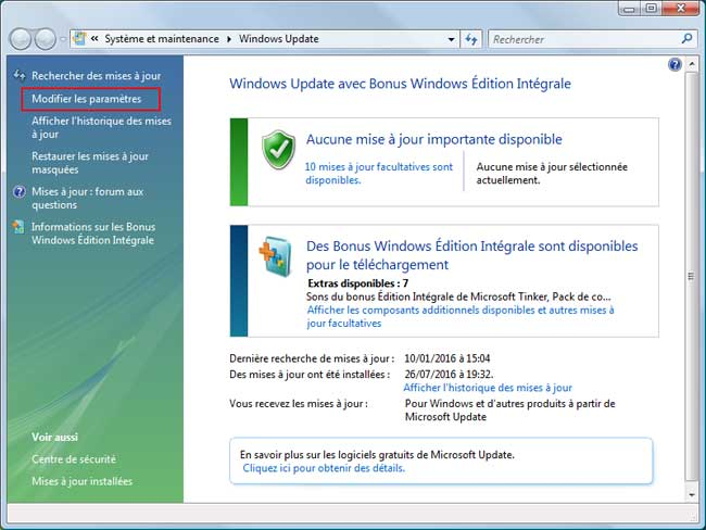 Windows Vista - Désactiver Windows Update