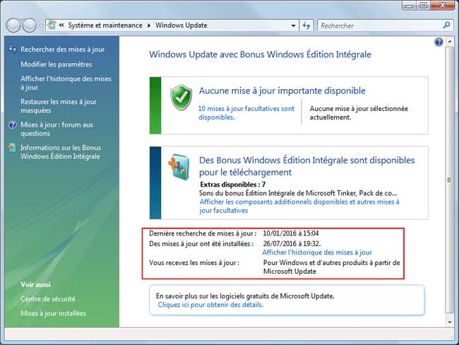 Windows Vista  - Windows Update