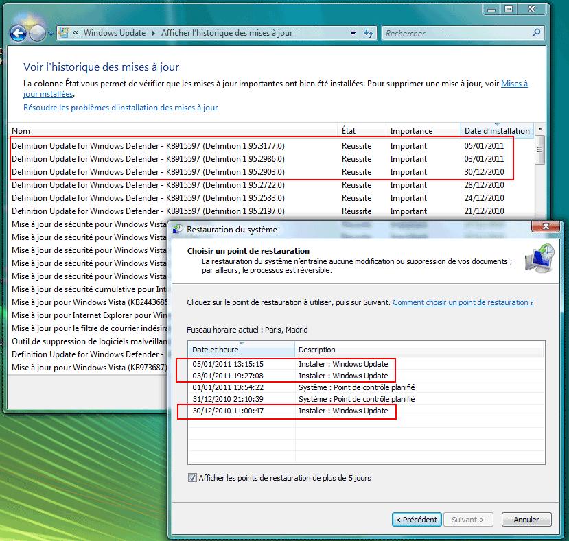 windows update probleme vista
