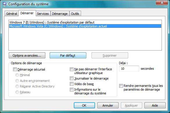 Windows Vista : Configuration du système