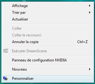 Personnaliser sous Windows Vista
