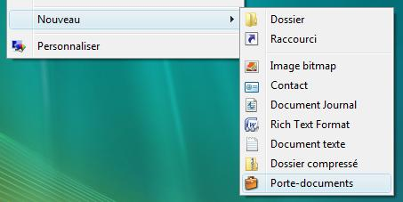 Porte document sous Windows Vista