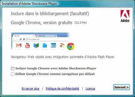 Adobe Flash Player et Chrome